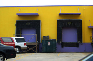 loading docks with ford expedition and blue paint