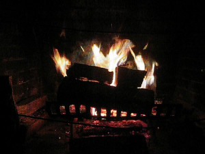 fireplace roaring over thanksgiving