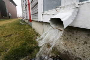 gutters draining close to the foundation